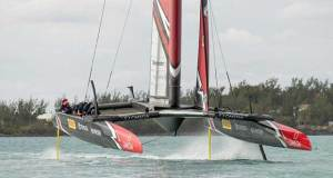 Emirates Team New Zealand sailing on Bermuda's Great Sound testing in the lead up to the 35th America's Cup Hamish Hooper/Emirates Team NZ http://www.etnzblog.com