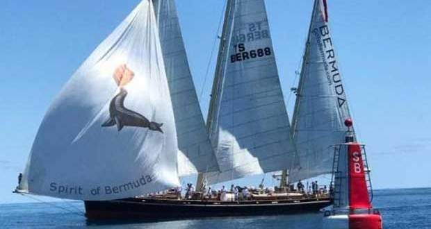 Spirit of Bermuda after crossing the finish line off St David's Light, Bermuda in the 935nmile race from Antigua © Tom Clarke