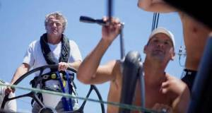 The day after the rescue: Les Crane, Skipper of the abandoned Farr 56, Monterey (BER) at the helm of Atlas Ocean Racing's Volvo 60, Esprit de Corps IV, (CAN) helped by Esprit's Skipper, Gilles Barbot on the grinder. - Antigua Bermuda Race © Tristan Péloquin