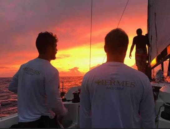 """Life at sea - Meg Reilly reports from on board Canadian Ocean Racing's Pogo 12.50, Hermes: """"Our previous hellish night of lightning was complemented by one of the most gorgeous sunsets we've ever seen."""" - Antigua Bermuda Race © Meg Reilly / Hermes"""