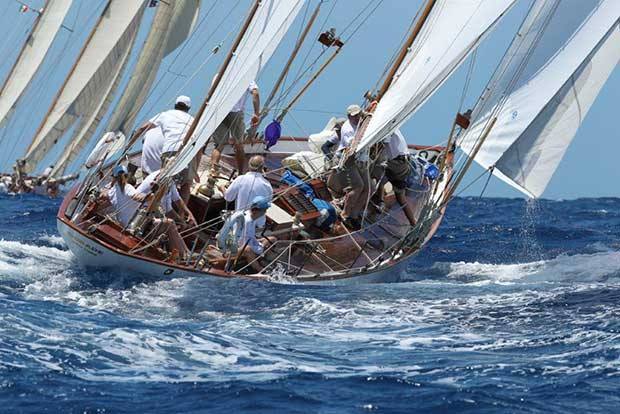 The classic yacht, Dorade, seen here racing off Antigua in the Caribbean, will be competing at Audi Hamilton Island Race Week 2017. Dorade Team
