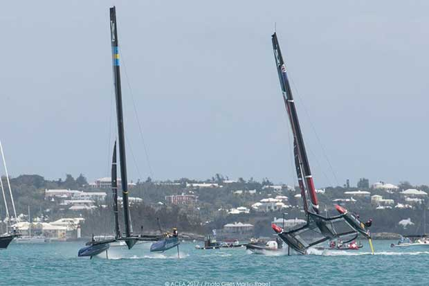 Emirates Team NZ comes close to a capsize after the incident with Artemis Racing on the final mark rounding - Bermuda (BDA) - 35th America's Cup Bermuda 2017 - Louis Vuitton America's Cup Qualifiers, Day 3 ACEA /Gilles Martin-Raget