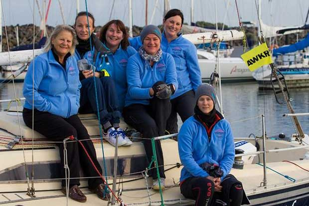 Sabina Rosser (left) and Mood Indigo crew - Australian Women's Keelboat Regatta © Bruno Cocozza