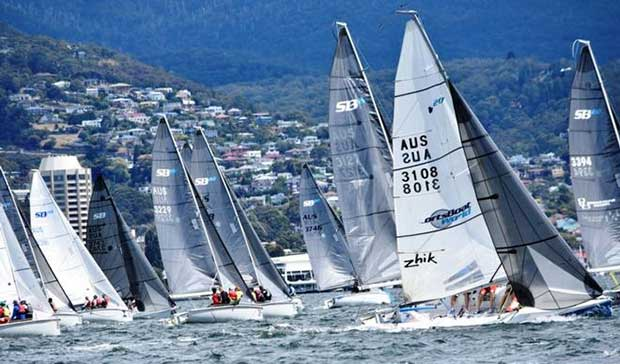 The SB20 mid-winters are an important lead-up for Tasmanian sailors to world championships at Cowes, England in August/September and the worlds in Hobart next January Jane Austin