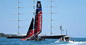 Emirates Team NZ passes the super yacht, Maltese Falcon- Semi-Finals - America's Cup 2017, June 4, 2017 Great Sound Bermuda © Richard Gladwell www.photosport.co.nz