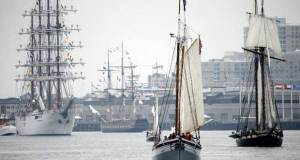 Tall ships participate in Sail Boston's Parade of Sail on Saturday © Michael Dwyer / AP