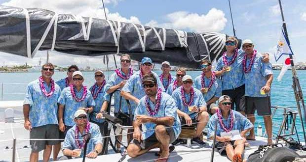 Comanche crew finally at rest in Aloha attire – Transpac © Lauren Easley / leialohacreative.com