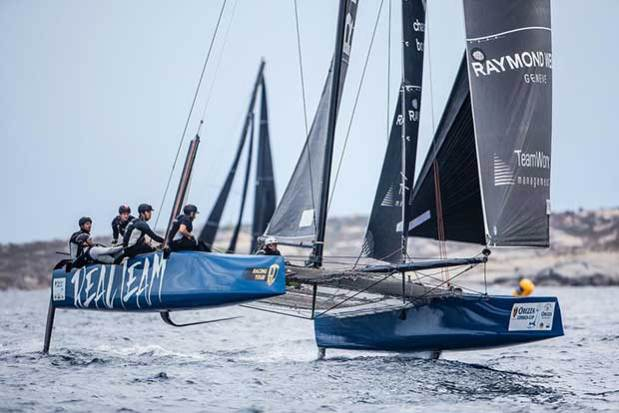 The Jérôme Clerc-skippered Realteam was fastest today in the ANONIMO Speed Challenge - 2017 GC32 Orezza Corsica Cup © Jesus Renedo / GC32 Racing Tour