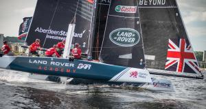 British-flagged Land Rover BAR Academy in action on home-waters at the last Act in Cardiff, UK. © Owen Buggy
