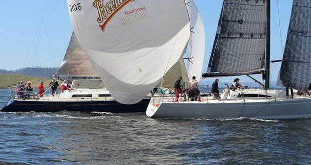 Doctor Who and Wild West rounding the leeward mark on the River Derwent. Wild West took line honours and AMS, Doctor Who won IRC and pHS categories © Peter Watson