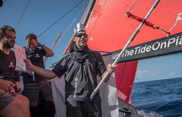 Day 9, Leg 2, Lisbon to Cape Town, sunrise on board Dongfeng. 13 November, 2017 – Volvo Ocean Race © Jeremie Lecaudey / Volvo Ocean Race