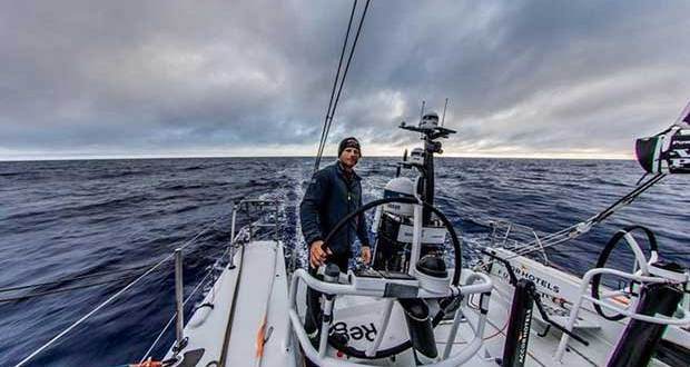 day 14, Leg 2, Lisbon to Cape Town, Luke Parkinson early session on the wheel on board Sun Hung Kai/Scallywag – Volvo Ocean Race © Konrad Frost / Volvo Ocean Race
