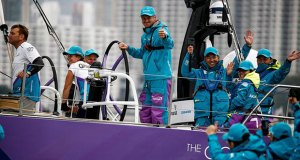 A thumbs-up from skipper Simeon Tienpont after his team AkzoNobel wins the HGC In-Port Race Hong Kong - Volvo Ocean Race - photo © Pedro Martinez / Volvo Ocean Race