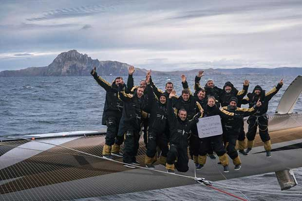 Yann Guichard and Spindrift 2 at Cape Horn during their Jules Verne Trophy record attempt © Eloi Stichelbaut / Spindrift racing