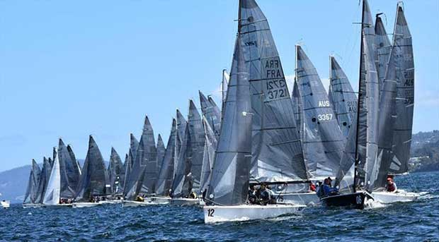 Day 4 - Fiftynine SB20s on the line on Hobart's River Derwent – SB20 World Championship © Jane Austin
