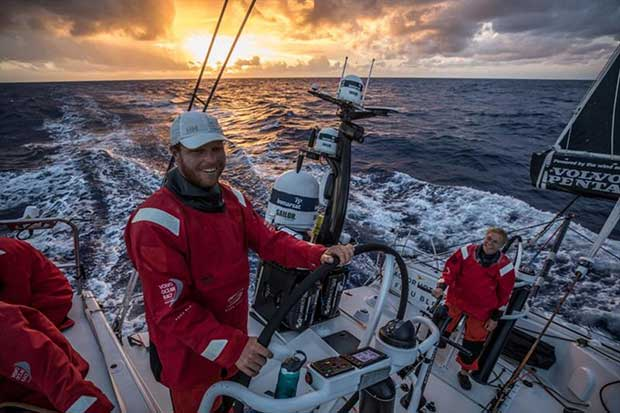 Volvo Ocean Race Leg 4, Melbourne to Hong Kong, day 4 Smiles all round as the sun goes down with Like Parkinson and Annemieke Bes on board Sun Hung Kai / Scallywag. © Konrad Frost / Volvo Ocean Race