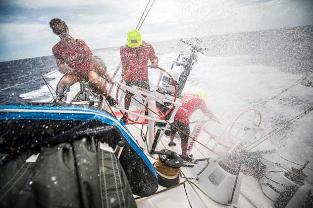 Leg 4, Melbourne to Hong Kong, day 13 on board MAPFRE, Sophie Ciszek, Xabi Fernandez and Pablo Arrarte sailing the boat. - photo © Ugo Fonolla / Volvo Ocean Race