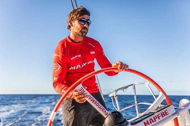 Volvo Ocean Race Leg 6 to Auckland, day 19 on board MAPFRE, Guillermo Altadill stearing as a PRO. 25 February - photo © Ugo Fonolla / Volvo Ocean Race