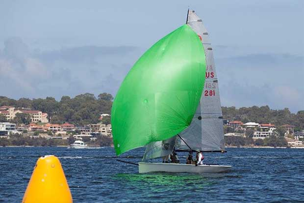 AUS 281 was forced to compete without her nominated skipper for the second successive day as match racer Keith Swinton battles a virus infection © Bernie Kaaks