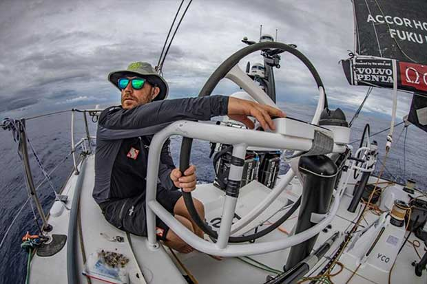 Volvo Ocean Race Leg 6 to Auckland, day 10 on board Sun hung Kai / Scallywag. Markus Ashley-Jones only a couple of hours before he crosses the equator and gets to see King Neptune.16 February © Jeremie Lecaudey / Volvo Ocean Race