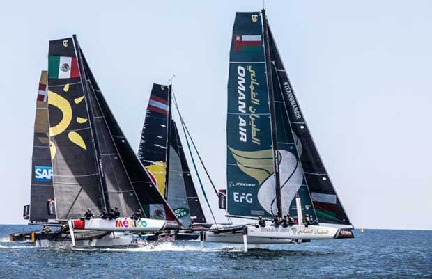 Extreme Sailing Series Act 4, Cascais, Portugal. The GC32 fleet racing close to the shore on Day 1 - photo © Sander van der Borch