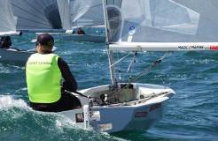 Event leader Charlie Cumbley on day 2 at the Magic Marine National Solo Championship at Hayling Island © Will Loy