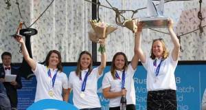 2018 Women's Match Racing Women's Match Racing World Champions: Team Mac - Lucy Macgregor, Nicky Walsh, Kate Macgregor, and Annie Lush (Great Britain) in Ekaterinburg, Russia © Flashbackstudios.co.nz