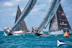 Four boats approach the windward mark during the Farr 40 Pre-Worlds, which were held in strong winds on Lake Michigan on Wednesday and won by Struntje Light. - photo © Chicago Yacht Club