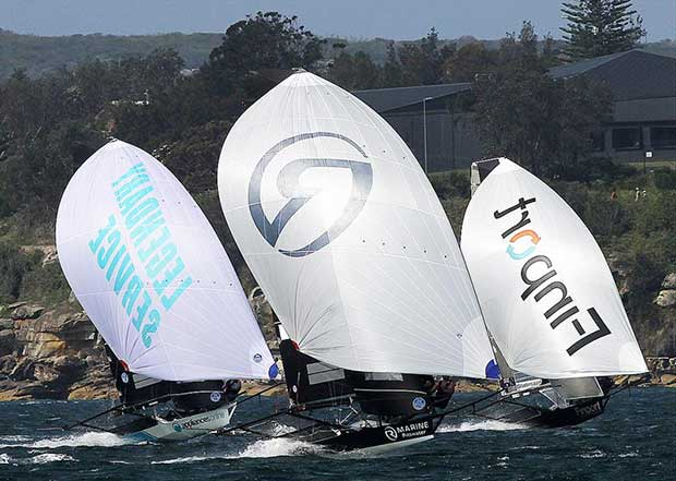Tight spinnaker action on the first run from the Beashel Buoy - photo © Frank Quealey