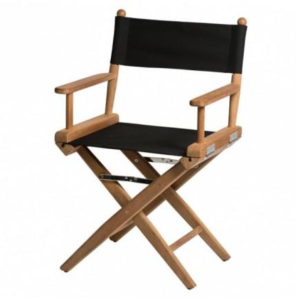 chaise metteur en scene classique en teck avec assise noire