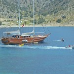 Gulet holidays. Mehmet Bugra and water toys in Dirsekbuku bay Turkey