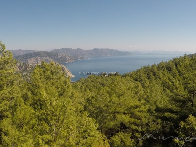 Overlooking the Aegean Sea from the pine hills of Marmaris Turkey