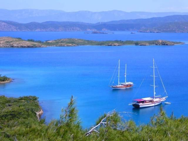 gulets anchored in a bay