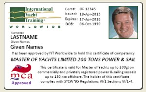 Master of Yachts Example Certificate
