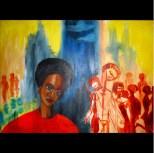 "Loner (series), Acrylic on canvas, 40""x24"" 2007"