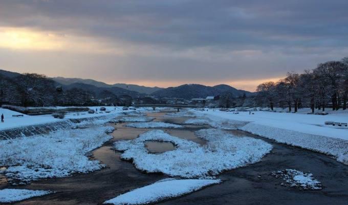 鴨川の雪化粧
