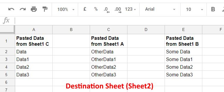 DestinationSheet - Google Sheets