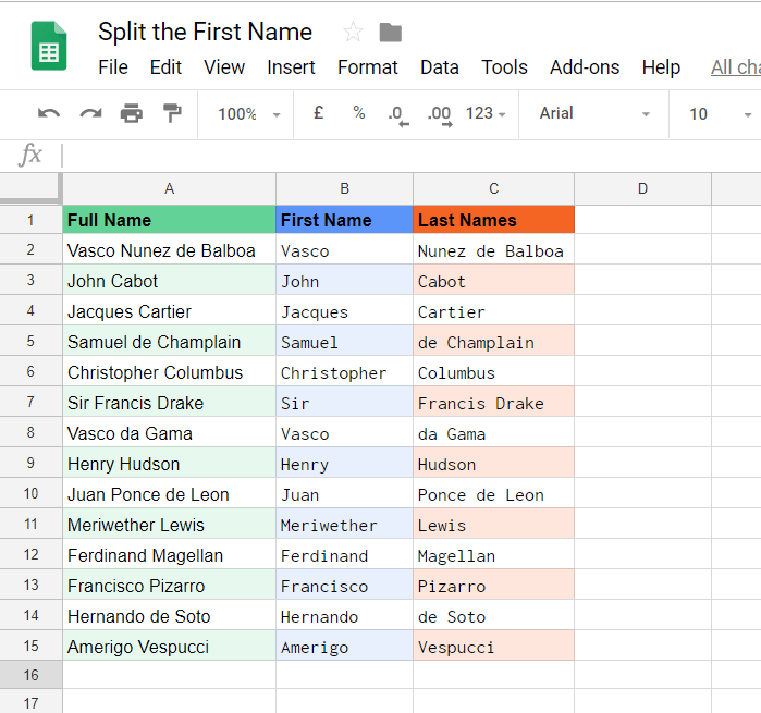 Google Sheets – How to Separate the First Name from a Full Name Cell
