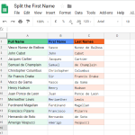 split the first name from a cell - Google Sheets
