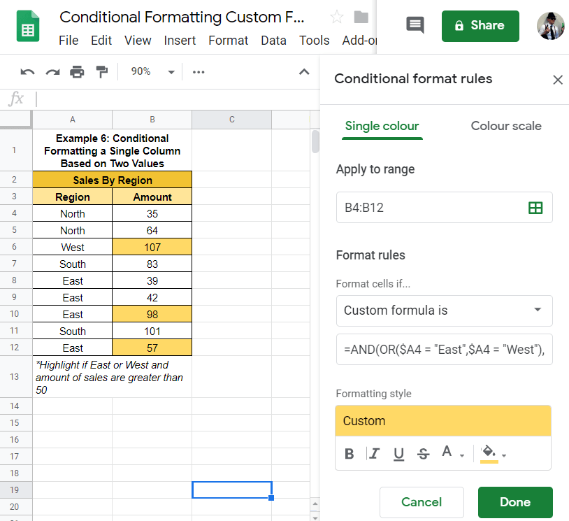 Conditional Format Row Google Sheets based on other column values 2