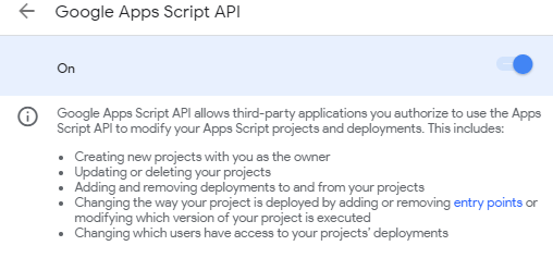 Google Apps Script API settings