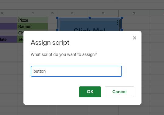Google Sheets Buttons assign script