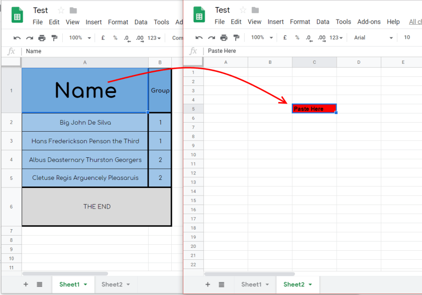 copy and paste Google Sheets