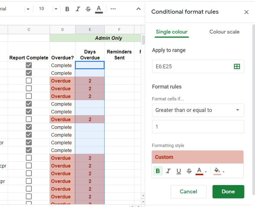 Conditional format for days overdue Google Sheet
