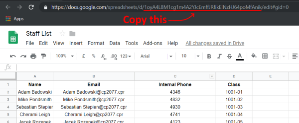 Google Sheet ID location