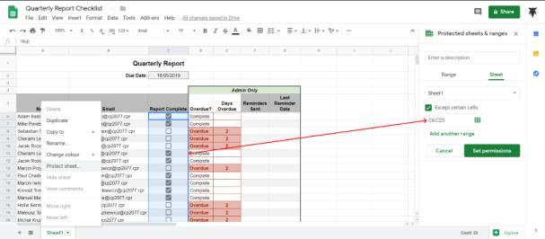 set sheet permissions Google Sheets