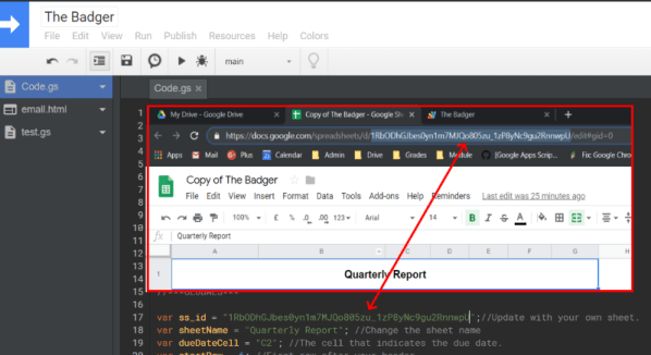 update Spreadsheet id in Google Apps Script