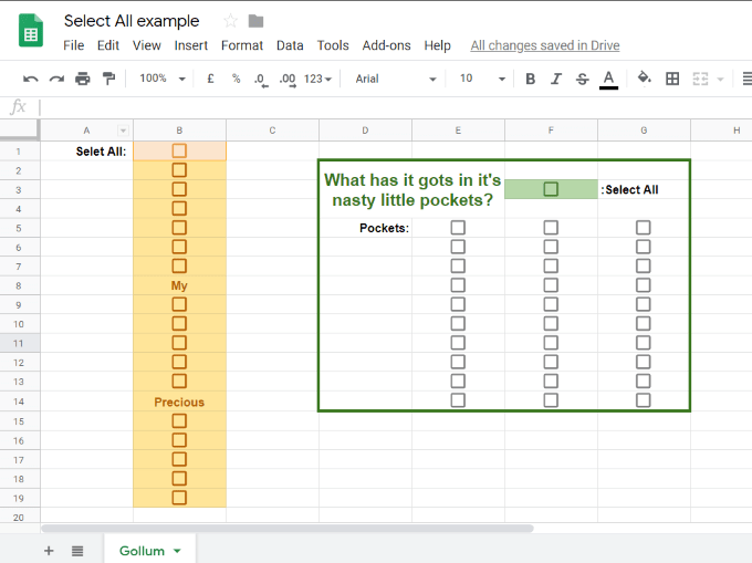 Applying Select All Checkbox to new Google Sheet Example
