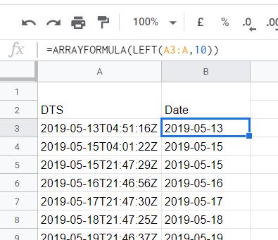 Google sheets- ARRAYFORMULA LEFT