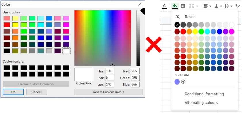 Color input vs google sheet palette colours